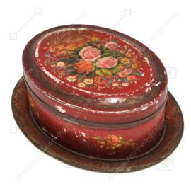 Ovale Vintage antike dunkelrote Bonbondose mit Blumendekoration und Untertasse