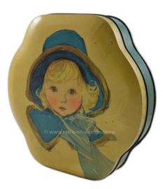 Brocante tin drum by Côte d'Or, blond girl with blue hat