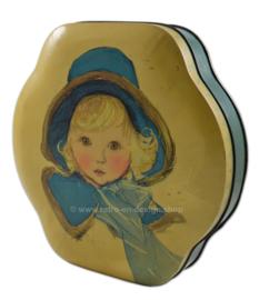Boîte vintage par Côte d'Or, avec une fille blonde et un chapeau bleu