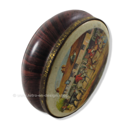 Round vintage tin drum with horses, wood imitation
