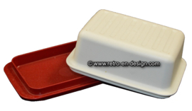 Vintage Tupperware butter dish, red/white