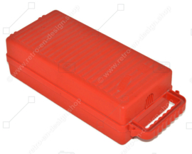 Porta casetes de plástico rojo vintage, caja de almacenamiento para 12 cintas de casete