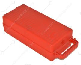 Vintage red plastic cassette holder, storage box for 12 cassette tapes