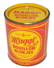 "Cilindrisch rood-geel vintage blik ""Maggi's bouillon-blokjes"""