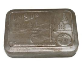 """Caja de tabaco de hojalata vintage marca """"Unie Club Edeltabak"""" de la Unión de Fábricas de Tabaco"""