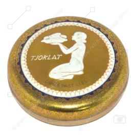 Runde Vintage Blechdose für Tjoklat Camée Pastilles, Details in Gold, Weiß und Blau