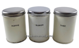 Set of three Brabantia canisters for Coffee, Tea, Sugar (Dutch)