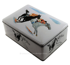 Vintage van Melle tin with horses and riders