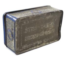 Boite à tabac bleu / argent embossée de navires pour tabac étoile de Niemeijer