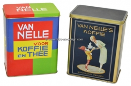 Set of two vintage tins by Van Nelle Coffee and Tea