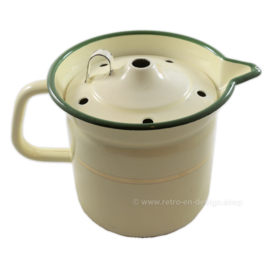 Brocante enamel milk cooker with a green edge, golden piping and grip