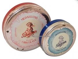 Set of two round Baronie chocolate tins, Medaillons. Milk chocolate & Plain Chocolate