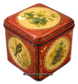 Vintage red tin cube shaped with birds and flowers '50s - '60s