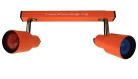 Rail orange vintage avec deux spots, 1960 -70, lampe double