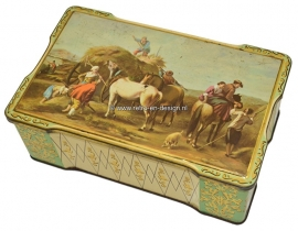Vintage tin with haying scene and horses, hinged lid