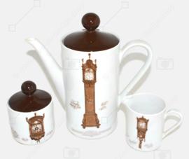 Nutroma Porzellan Kaffeekanne, Sahnekännchen und Zuckerdose von Mitterteich Porzellan (Uhrengeschirr-Set)