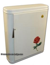 Vintage Brabantia medicijnkastje wit met roos