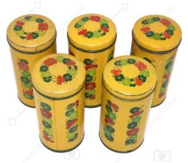 Boîte à biscuits Verkade vintage cylindriques jaunes avec capucines