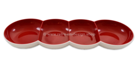 Tupperware Allegra Perle four-compartment serving bowl in red and white