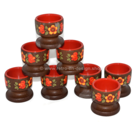 Vintage set of 8 egg cups in brown and red with floral pattern