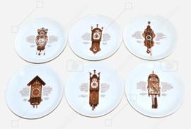 Set aus sechs Gebäcktellern als Ergänzung zum bekannten Nutroma - Mitterteich Clock Geschirr