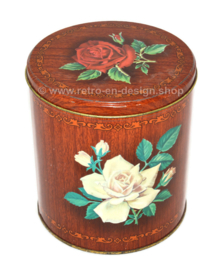 Vintage tin with wood imitation and roses by Beyers coffee Antwerp