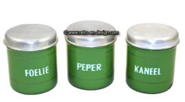 Brocante set of three reseda green enamel canisters for herbs/spices