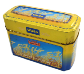 Yellow / blue tin box for Wasa Crackers with an image of ripe grain