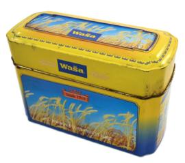 Boîte métallique jaune / bleue pour les biscuits Wasa avec une image de grain mûr