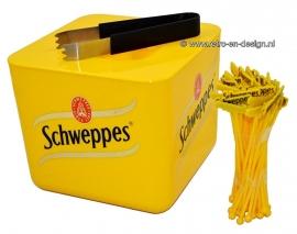 Vintage Retro Schweppes enfriador de plástico. ramo de hielo
