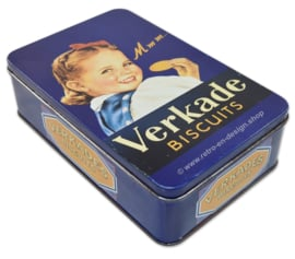 Vintage blue tin with image of a girl. Mmm.. Verkade biscuits