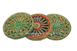 Set of three vintage raffia trivets from the 1960s-1970s