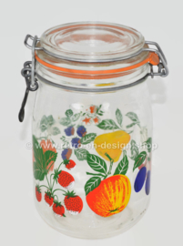 Vintage glass jar with fruit motif by Le Parfait Super