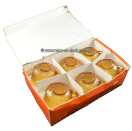 Vintage Arcoroc Sierra amber, six cup and saucer in box