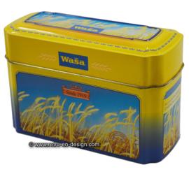 Vintage blik Wasa knäckebröd met afbeeldingen van rijp graan