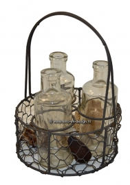 Bric-a-brac iron bottle basket
