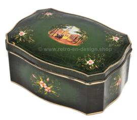 Groene vintage blikken Douwe Egberts trommel voor Pickwick thee