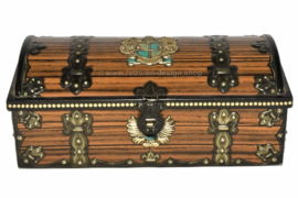 Vintage Blechdose mit Holzstruktur und Heraldik, Wappen