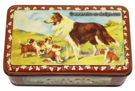 Vintage tin with images of Scotch collie (Lassie)