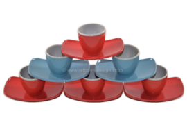 Vintage set of six plastic egg cups from the 50s-60s