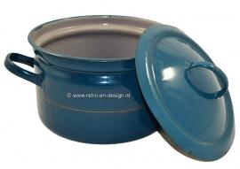Emaille pan in Petrol blauw met gouden bies