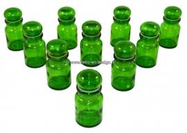Set van 10 vintage Apothekerspotjes kleur groen.