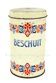 """Biscuit tin with colour pattern and inscription """"Beschuit"""""""