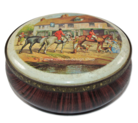 Round vintage tin drum with horses, wood imitation