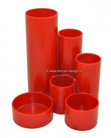 Plastic red deskorganizer from the 70s