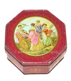 Achteckige Vintage Keksdose mit einer romantischen römischen Szene