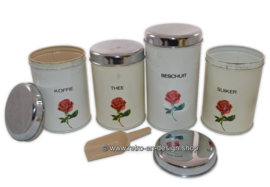 Vintage Dutch Brabantia storage tins for Coffee, Tea, Sugar, and Rusks with rose pattern
