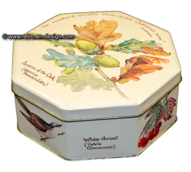 Vintage 70s Octagon Tin by Webb and Bower, Flora and Fauna