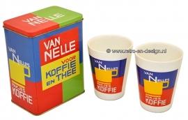 Van Nelle koffie en theeblik met twee koffiekopjes