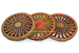 Set of three coloured vintage raffia coasters from the 1960s - 1970s